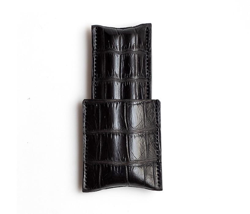Picture of 1/3 Black Croc Cigar Case